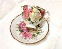 Vintage Queen Anne Bone China Teacup, Lady Sylvia Teacup, Beautiful Roses, 1950s, Excellent Condition
