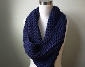Navy Blue Scarf . Crochet...