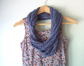 Blue Scarf Necklace . Mid Length . Blue Infinity Scarf . Blue Scarf . Knit Chain Scarf . Indie Clothes . Cute Scarf .. Crochet Scarf