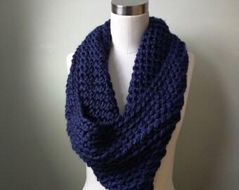 Navy Blue Scarf . Crochet Scarf . Hygge . Knit Scarf . Navy Cowl . Navy Scarf . Navy Infinity Scarf . Blue Infinity Scarf . Oversized Scarf