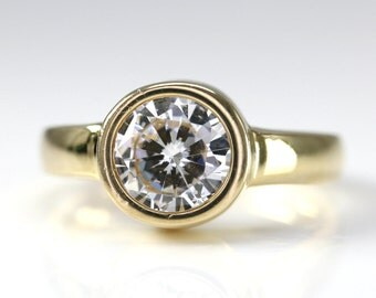 1.5ct Bezel Set Solitaire CZ Stone Ring 14k Yellow Gold Size 7