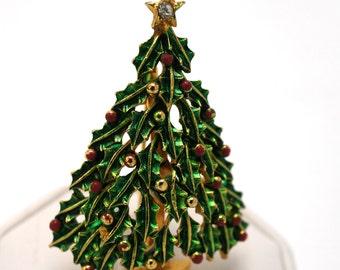 Vintage Christmas Brooch Green Enamel Rhinestone Tree Top