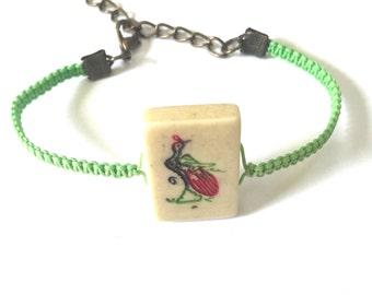 Vintage Mahjong Tile Shamballa Bracelet