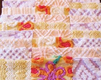 "36 Vintage Chenille Bedspread 6"" Quilt Squares Fabric Kit Purple Yellow Orange"