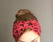 Cheetah turban, Red Twist Headband, Animal Print Headwrap with Twisted Center , Ear Warmers, Women Turban,  Adult Headband, Infinity Turban