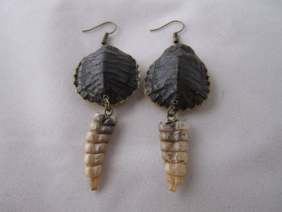 Real red slider turtle shell earrings w diamondback for Real tortoise shell jewelry