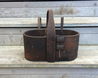 Early Antique Leather Sawyer Journeyman's Tool Carrier With Ladder Hanger