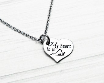 My Heart Is In My Home State - Hand Stamped Stainless Steel Heart Necklace  - State Pride Necklace - Hometown Girl