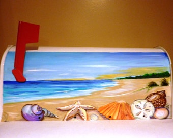 "Beach mailbox  Hand Painted  Mailbox ""Seashells at the beach"""