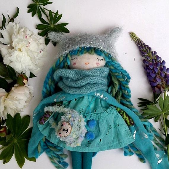 """Drowsy Cat Rag Doll, Blue Green Doll, 13"""" Doll, OOAK Doll, Cloth Doll, Soft Doll for Girl, Heirloom Doll"""