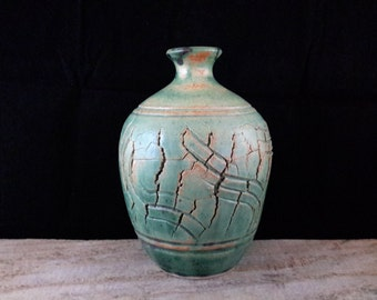 ChingWenArts Studio Pottery Art Stoneware Vase, Patina Green, #E043