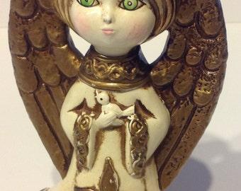 Vintage angel Paper Mache Christmas Angel 1970