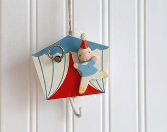 Nursery Mobile Holder, Vintage Mobile Piece, Baby Nursery Decor, Nursery Circus Music Piece, Clown, Red White Blue