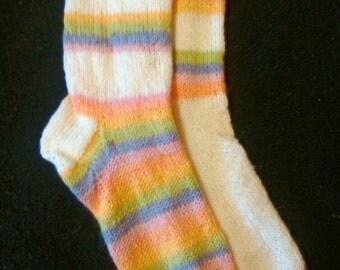 Pastel and white rainbow  Sassi woollen socks