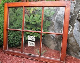 28 x 23 Vintage Window sash frame old  6 pane  from 1951