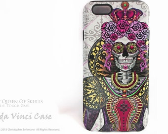 Sugar Skull Queen  iPhone 6 6s Case - Mary Queen of Skulls - Renaissance Day of the Dead iPhone 6s cover - dual layer iPhone case