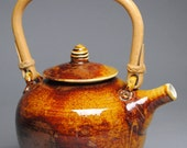 Clay Teapot Amber with Cane Handle E88