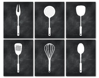 Kitchen Wall Art Set of Six prints - Kitchen Utensils Silhouettes - Kitchen Wall Decor Decoration - Chalkboard prints - Housewarming gift