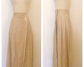 ON SALE 1980s Vintage Women's Perry Ellis 100% Cotton Wrap Skirt