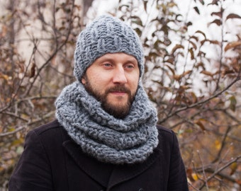 Mens Hat and Cowl set, Mens Gift, Knit Man Cowl and Hat, Chunky Cowl Scarf, Boyfriend gift, Gift Set for Him, Gift Set for Men, Husband Gift