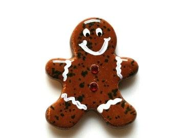 Gingerbread Man Pin, Christmas  Jewelry, Stocking  Stuffer