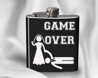 SALE! 6 oz. Liquor Hip Flask - Game Over - Wedding - Bride - Groom - Groom Gift