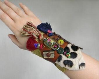 Boho Wrist cuff Tribal cuff with leopard print, Leather cuff Mixed media collage jewelry, Leather wide bracelet arm cuff Boho tassel cuff