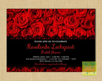 Red Roses Invitation, Roses Bridal Shower Invitation, red Roses Birthday Invitation, Red Roses ANY OCCASION Invitation, Roses Invitation