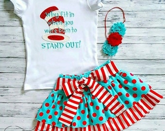 Girls Dr. Seuss Dr. Suess Thing outfit Skirt Set