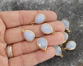 blue chalcedony drop pendant genuine gemstone faceted gold plated bezel charm