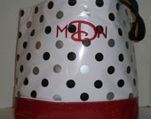 BeachTote big dot black and silver with red sparkle vinyl bottom  Monogrammed Oilcloth