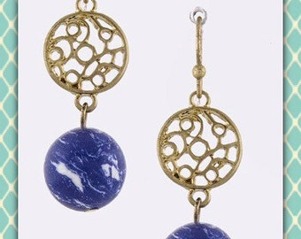 Gold and Sodalite Earrings