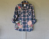 Boyfriend flannel shirt oversize upcycled clothing patchwork plaid camping shirt rustic grunge rodeo Boho chic hippie top LillieNoraDryGoods