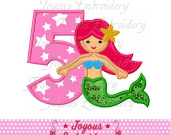 Instant Download Mermaid Number 5 Applique Machine Embroidery Design NO:1750