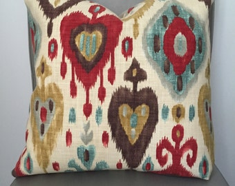 Pillow Cover,  Throw Pillow, Decorative Pillow Cover, Sofa Pillow, Cushion, Pillow Case, Ikat Pattern,Ivory Blue Red