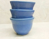Yellow Ware Custard Cups Blue Pudding Cups Speckled Glaze Set of Of 3 Nelson McCoy 1930 Depression Era