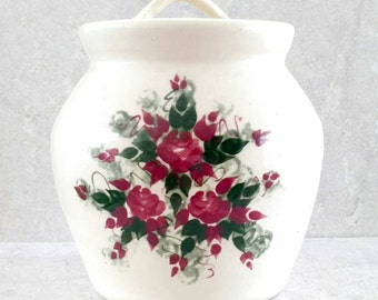Hand Painted Cookie Jar Stoneware Crock Ivory Glaze Yellow Ware Biscuit Jar Burgundy Red Flowers With Green Leaves