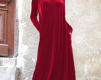 New Maxi Velvet Red Dress / Kaftan Dress / Side Pockets Dress / Extravagant Long Party Dress /Turtle Neck Kaftan by AAKASHA A03498