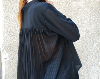 New Collection Fall Black Loose  Shirt / Asymmetric shirt / Buttoned Party Tunic / Long Sleeves / Plated Back by AAKASHA A11507