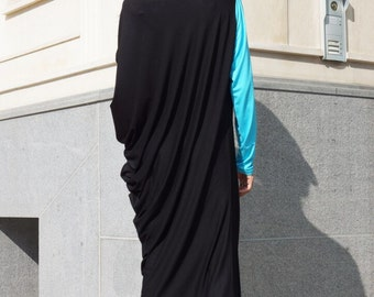 Asymmetrical Black Tunic Dress / Kaftan / Off Shoulder Dress / Maxi Blouse/ Turquoise Wxtra Long Sleeve HandMade by AAKASHA A03052