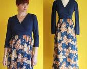Vintage 70s Maxi Dress with Sleeves - Butterfly Print Hippie Dress - Long Sleeve Boho Dress - Navy Blue Hostess Dress - Size Small