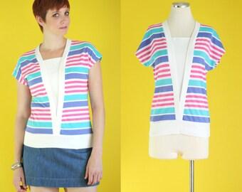 Vintage 80s Striped Top - Colorful Cotton Shirt - Cap Sleeve Top - Summer Shirts - Sleeveless Top - Pink Stripe Shirt - Size Medium