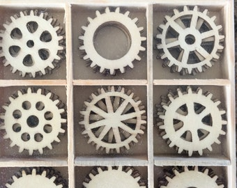 Wood Die Cuts - Laser Cut - Gears - Wooden Box - 45 pcs