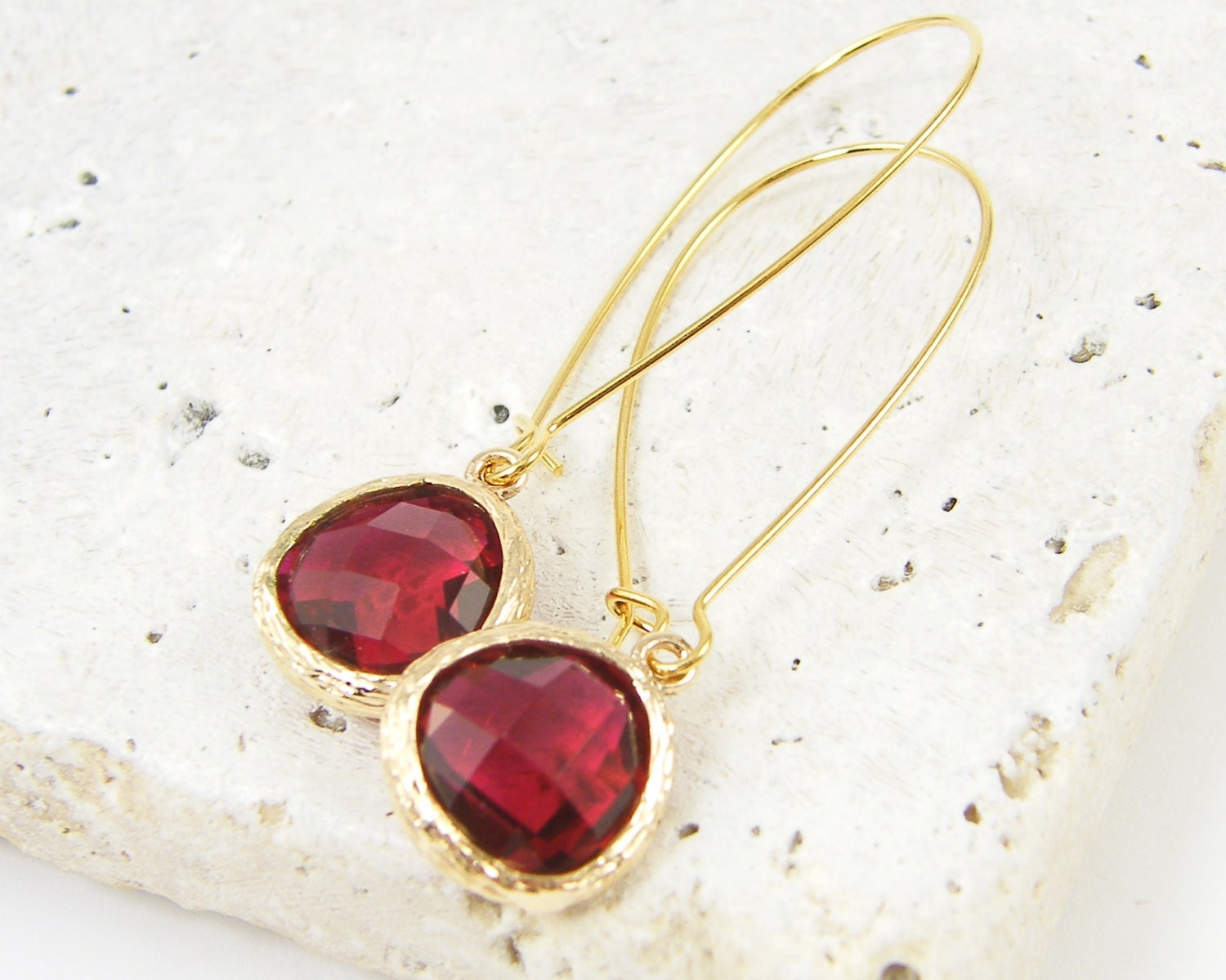 Dark red long drop earrings crystal teardrop in long kidney for Jewelry made from kidney stones