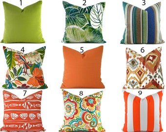Outdoor Pillows Outdoor Pillow Covers Decorative Pillows ANY SIZE Pillow Cover Green Pillows Orange Pillows You Choose