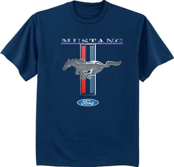 Ford Mustang Racing Stripe Design Blue Men S Size Tee