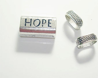 """3PC Hope Antique Silver tube slider charm//Stamped """"Hope"""" Charm Bead//Inner diameter 11MM X 8MM// Antique Silver Plated Finish Slider Charm"""