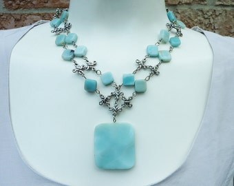 Pale Blue Amazonite Pendant and Statement Necklace