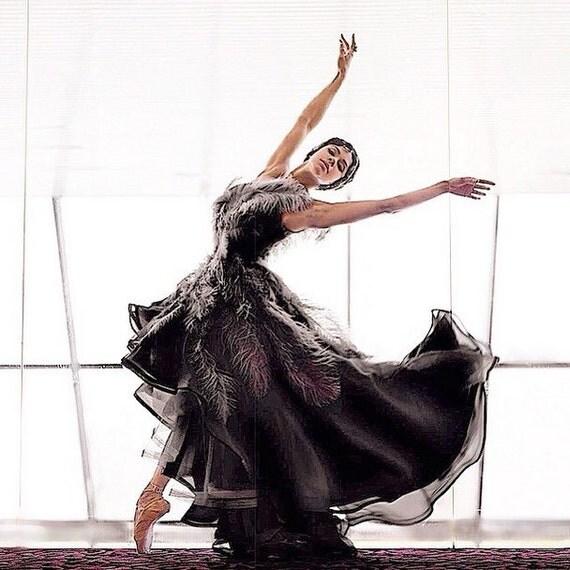 Irina Shabayeva Couture Asymmetrical Hem Feather AppliqueBall Gown worn by Misty Copeland.