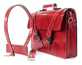 Oxblood Red Bridle Leather Briefcase with Double Quick Release Buckle